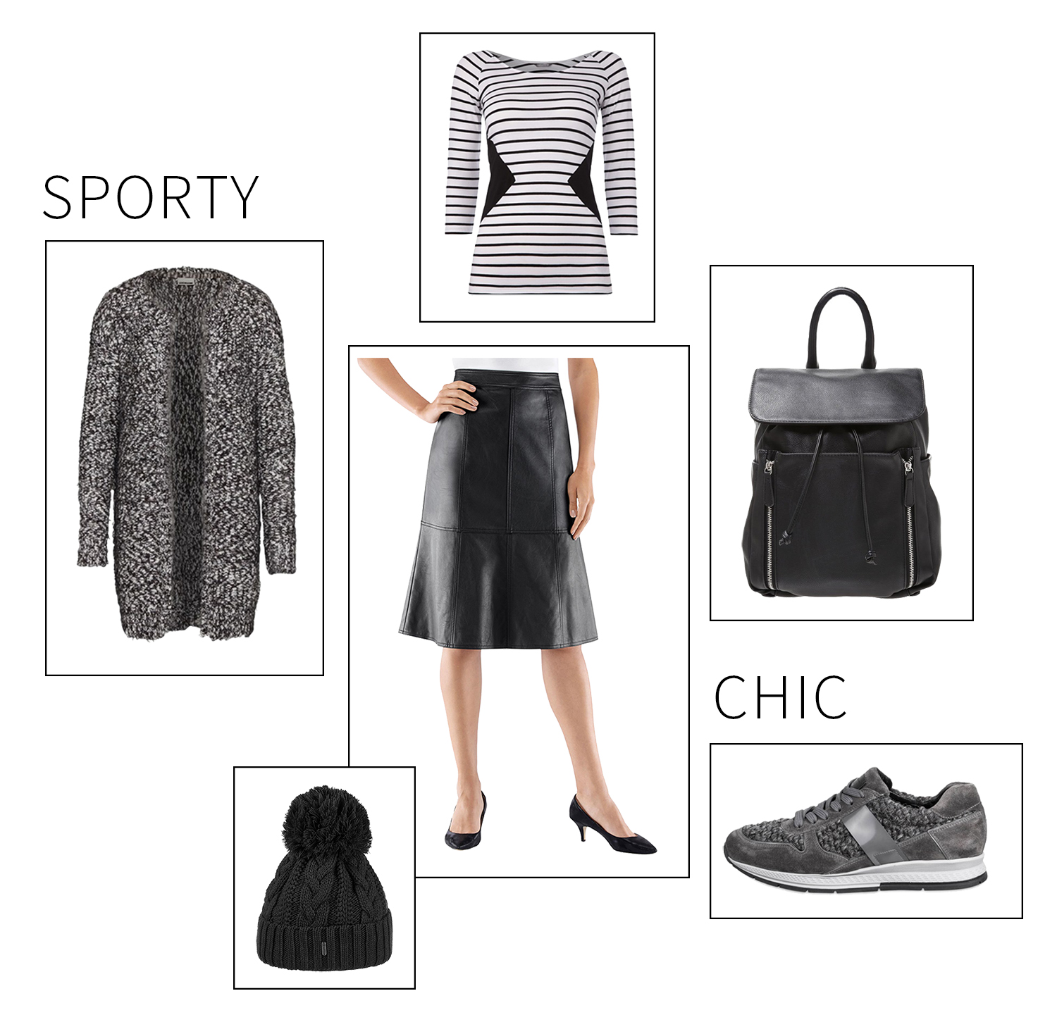 Advance Your Style, Modeblog, Berlin, Deutschland, Fashionblog, Mix & Match, Outfit, Kombinieren, Modetipp, Trend, Leder Rock, Schwarz, Witt Weiden, Titelbild, sporty chic, graue Sneaker in Strick Optik, schwarzer Lederrucksack, schwarze Strickmütze mit Bommel
